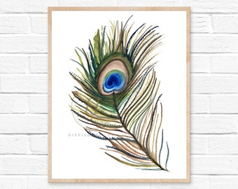 Peacock feather print, Watercolor art, Living room decor