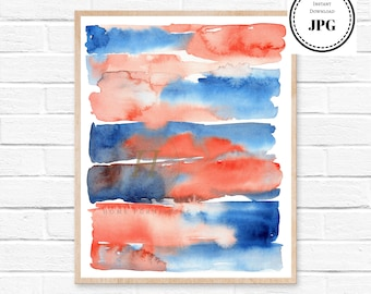abstract watercolor wall art watercolor print, watercolor blue painting abstract home decor, nursery room decor, watercolor painting, art