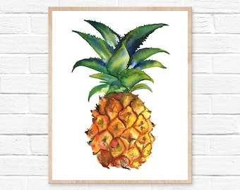 pineapple watercolor pineapple print pineapple art pineapple pineapple painting pineapple wall art watercolor print watercolor art painting