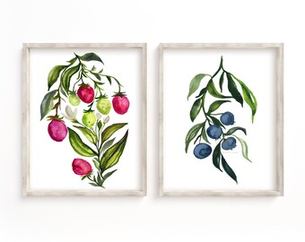 Strawberry and Blueberry Watercolor Art Prints set of 2