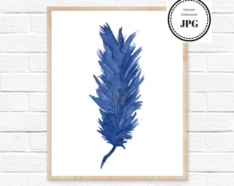 Feather Painting, Feather Art, Feather, Watercolor Art Print, Blue Feathers Print of Original Watercolor Painting