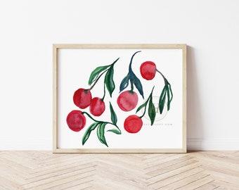 Cherry, Watercolor Print, Modern Art by HippieHoppy