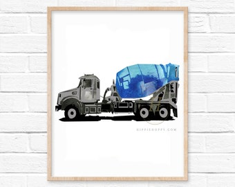 Cement Mixer Watercolor Print