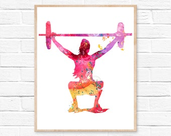 Fitness Squat Watercolor Print