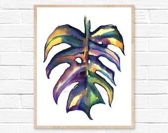 Monstera watercolor Print, Botanical palm leaf art, Scandinavian tropical leaf print, Wall art