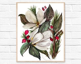 Large Christmas Watercolor Print