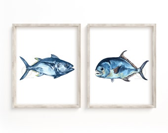 Permit and Tuna Fish Prints Set of 2, Watercolor Fish, Wall Art