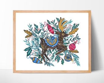 Christmas Reindeer Watercolor Print