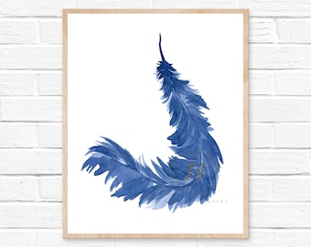 Feather Watercolor Art Print. Coastal Beach Decor. Blue Feather Watercolor Wall Art. Boho Bird Feather Painting. Tribal Wall Art. Home Decor