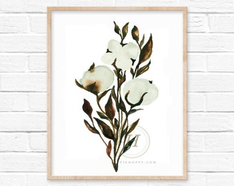 Cotton Watercolor Print