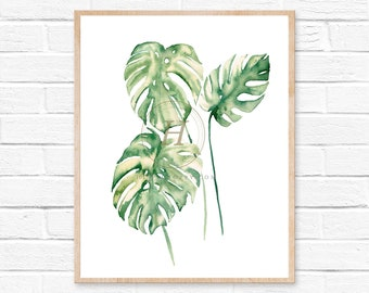 Monstera Plant Watercolor Print