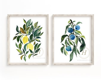 Lemons and Blueberries Watercolor Art Print Set of 2 by HippieHoppy