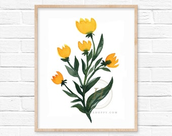 Yellow Flowers Watercolor Print Buttercups
