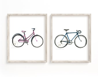 Bike Prints Set of 2, Watercolor Bikes, Bicycle Art