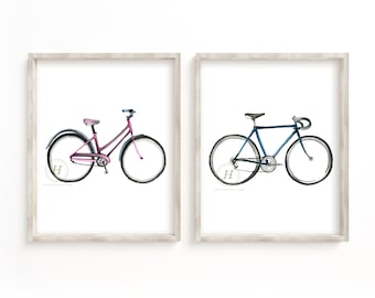 Bike Watercolor Prints Set of 2