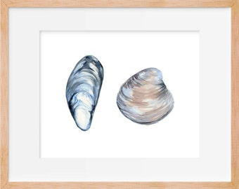 Mussel and Clam Watercolor Print