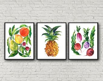 Fruit and Veggie Watercolor Print