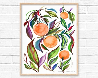 Oranges Watercolor Print by HippieHoppy