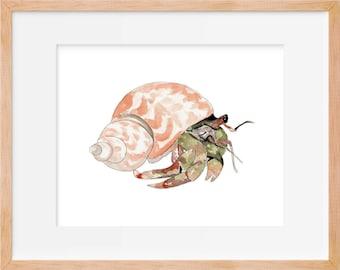 Hermit Crab Watercolor Print