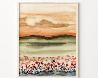 Large Red Poppy Watercolor Print