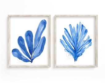 Seaweed and Coral Watercolor Prints Set of 2