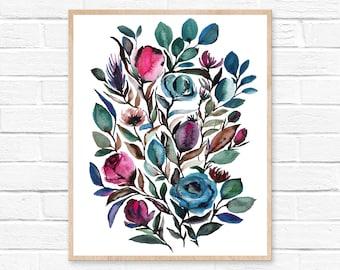 Watercolor Flowers Painting Art Print - Floral Print Wall Art - Botanical Art Print