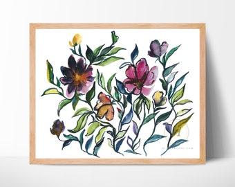 Wildflowers Watercolor Art Print by HippieHoppy