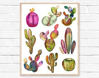 Large Cactus Watercolor Print Cacti Décor