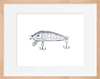 Fishing Lure Rustic Art Print