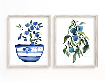 Blueberry Watercolor Print set of 2