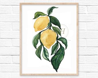 Large Lemons Watercolor Art Print