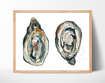 Large Oysters Watercolor Art Print by HippieHoppy