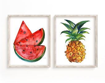 Watermelon and Pineapple Kitchen Art set of 2