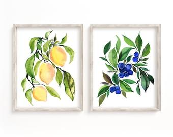 Fruit Set of 2 Watercolor Prints