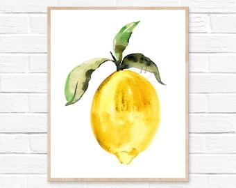Large Lemon Watercolor Print