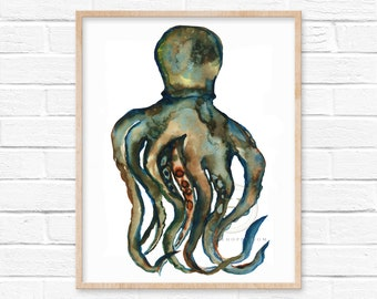 Squid Watercolor Art Print by HippieHoppy