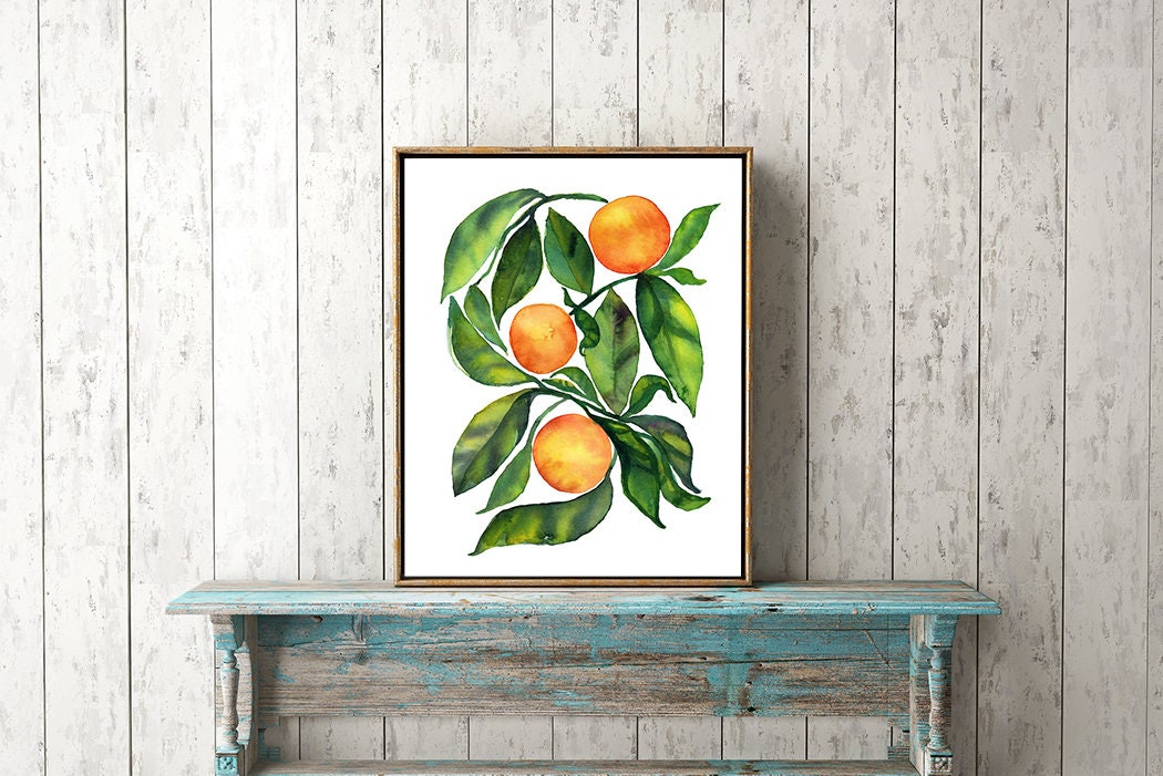 Orange Kitchen Decor Kitchen Wall Art Watercolor Painting Watercolor