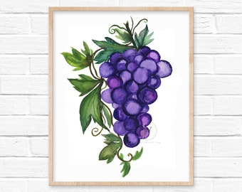 Large Grapes Watercolor Print by HippieHoppy