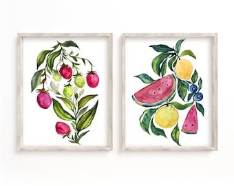Large Fruit Watercolor Art Prints set of 2