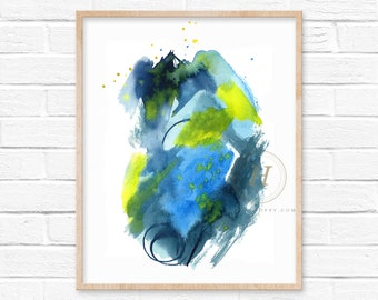 Abstract Blue and Yellow Watercolor Print
