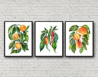 Watercolor Fruit & Veggie Print Set of 3