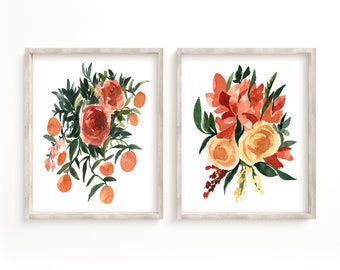 Orange Florals Art Prints Set of 2 Botanical Paintings