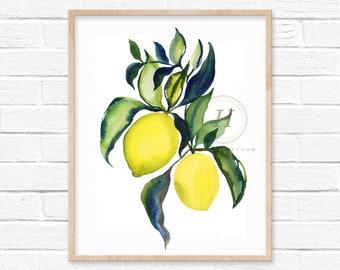 Lemons Watercolor Print Kitchen Wall Art