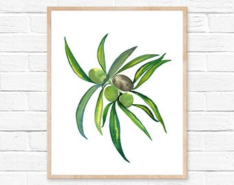 olive watercolor print