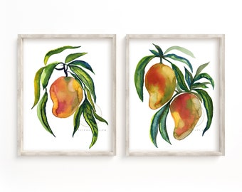 Mango Watercolor Art Print by HippieHoppy
