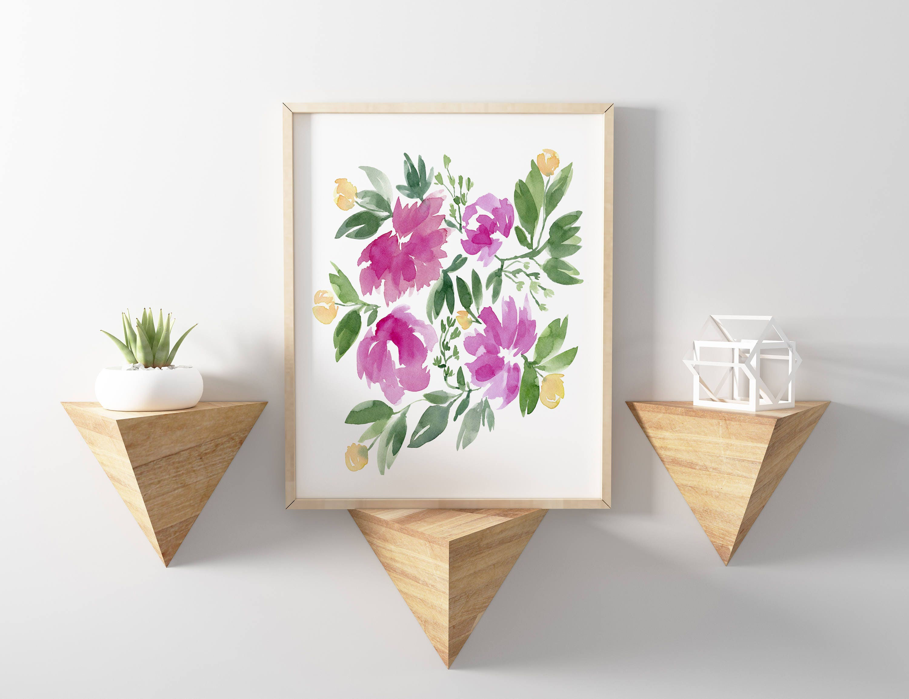 pink and yellow flowers no 1103 watercolor print watercolor floral
