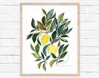 Large Lemons Watercolor Print by HippieHoppy