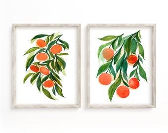 Tangerines and Oranges Watercolor Print Set of 2