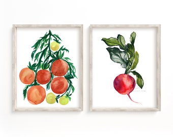 Tomato and Radish Watercolor Prints