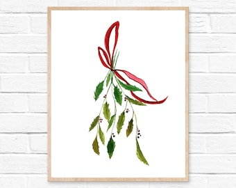 Holly Leaves Watercolor Print